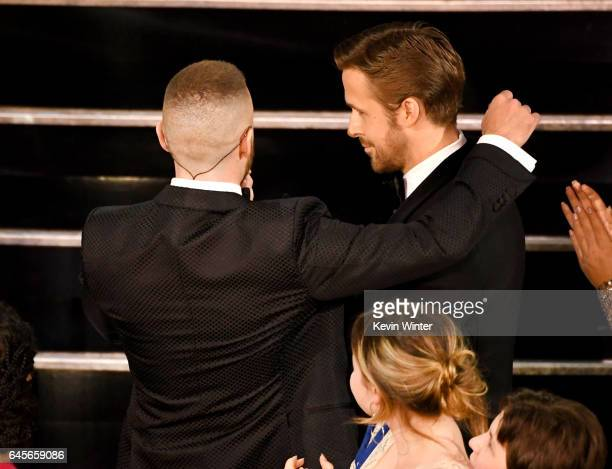 Singer/actor Justin Timberlake performs with actor Ryan Gosling onstage during the 89th Annual Academy Awards at Hollywood & Highland Center on...