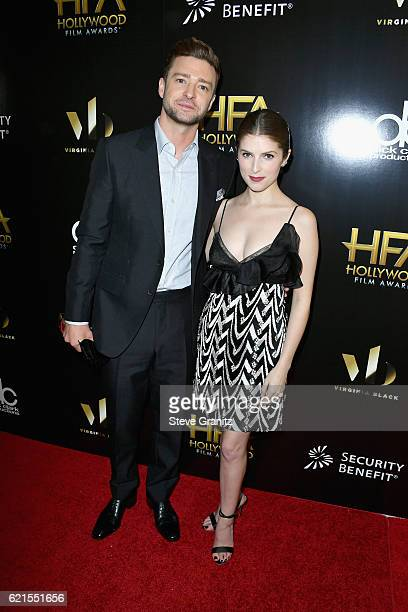 Singer/actor Justin Timberlake recipient of the Hollywood Song Award for CAN'T STOP THE FEELING and actress Anna Kendrick pose in the press room at...