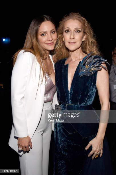 Singer/actor Katharine McPhee and singer Celine Dion attend 'Stayin' Alive A GRAMMY Salute To The Music Of The Bee Gees' on February 14 2017 in Los...