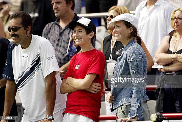 Singer/actor Mandy Moore watches her boyfriend Andy Roddick defeat Roger Federer of Switzerland during the Tennis Masters Canada at Maurier Stadium...