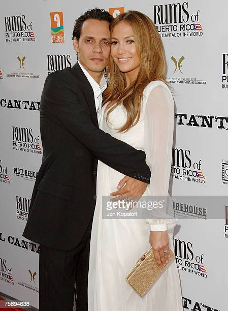 Singer/actor Marc Anthony and actress Jennifer Lopez arrive at the Los Angeles premiere of El Cantante at the Director's Guild of America on July 31...