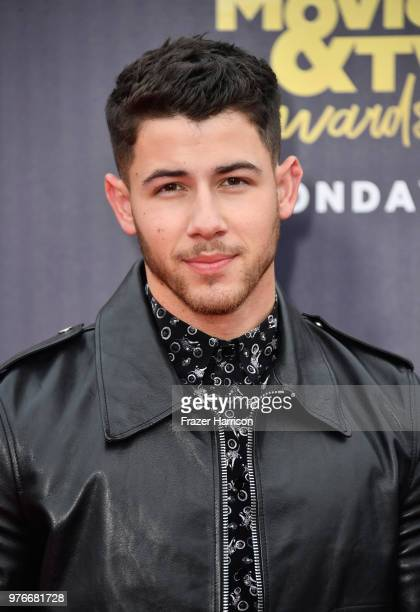 Singer/actor Nick Jonas attends the 2018 MTV Movie And TV Awards at Barker Hangar on June 16 2018 in Santa Monica California