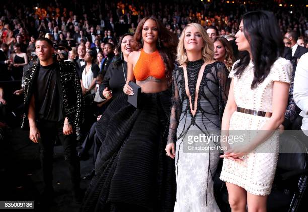 Singer/Actor Nick Jonas singer Rihanna singer Carrie Underwood and Guest during The 59th GRAMMY Awards at STAPLES Center on February 12 2017 in Los...