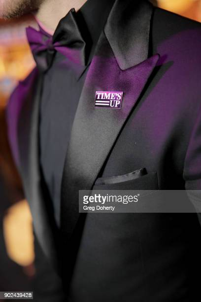 Singer/actor Nick Jonas wears a 'Time's Up' pin during the Official Viewing and After Party of The Golden Globe Awards bosted by The Hollywood...