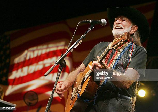 Singer/actor Willie Nelson performs at the afterparty for the premiere of Warner Bros Picture's The Dukes of Hazzard at the Chinese Theater on July...
