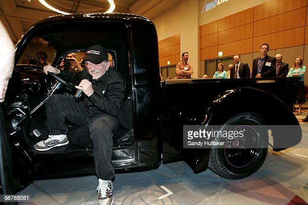 Singer/Actor Willie Nelson sits in a limited edition Willie's Willys truck which runs on Biodiesel fuel at the Sustainable Biodiesel Summit at the...