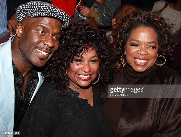 Singeractors BeBe Winans and Chaka Khan and producer Oprah Winfrey pose at the celebration for new Broadway cast members of The Color Purple Chaka...