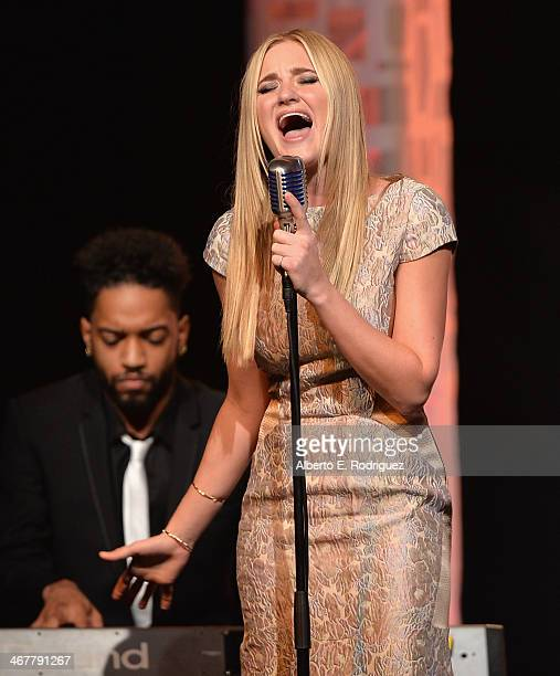 Singer/actress AJ Michalka performs on stage at the 22nd Annual Movieguide Awards Gala at the Universal Hilton Hotel on February 7 2014 in Universal...