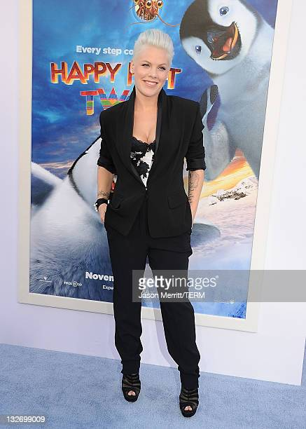 Singer/actress Alecia Beth Moore aka Pink attends the Premiere of Warner Bros Pictures' 'Happy Feet Two' at Grauman's Chinese Theatre on November 13...