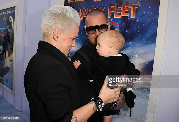 Singer/actress Alecia Beth Moore daughter Willow Sage Hart and Carey Hart attend the Premiere of Warner Bros Pictures' 'Happy Feet Two' at Grauman's...