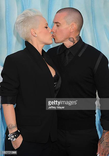Singer/actress Alecia Moore aka Pink and Carey Hart attend the 'Happy Feet Two' Los Angeles Premiere at Grauman's Chinese Theatre on November 13 2011...