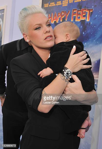 Singer/Actress Alecia Moore aka Pink and daughter Willow Sage Hart attend the 'Happy Feet Two' Los Angeles Premiere at Grauman's Chinese Theatre on...