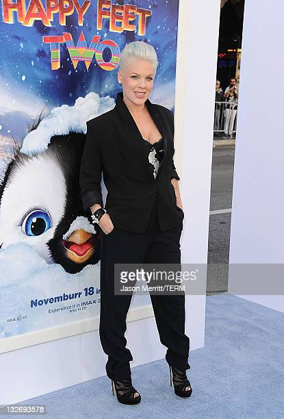Singer/Actress Alecia Moore aka Pink attends the 'Happy Feet Two' Los Angeles Premiere at Grauman's Chinese Theatre on November 13 2011 in Hollywood...