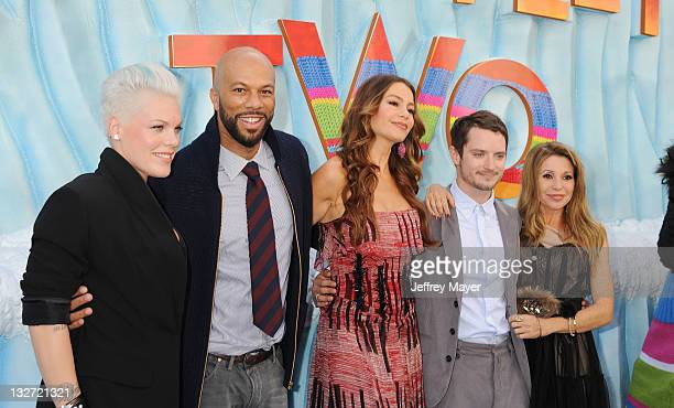 Singer/actress Alecia Moore aka Pink Common Sofia Vergara Elijah Wood and EG Daily attend the Happy Feet Two Los Angeles Premiere at Grauman's...