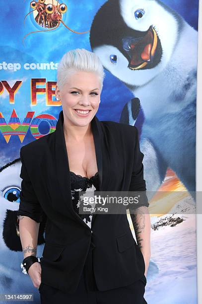 Singer/actress Alecia 'Pink' Moore arrives at the Los Angeles premiere of 'Happy Feet Two' held at Grauman's Chinese Theatre on November 13 2011 in...