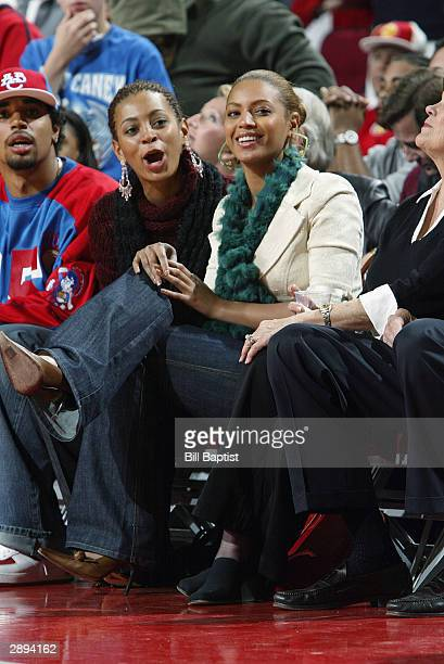 Singer/actress an avid Houston Rockets fan Beyonce Knowles attends the game between her hometown Rockets and the Boston Celtics on January 11 2004 at...