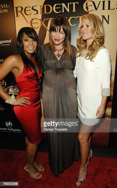 Singer/Actress Ashanti, actress Milla Jovovich and actress Ali Larter arrive at The World Premiere of Resident Evil: Extinction at The Planet...