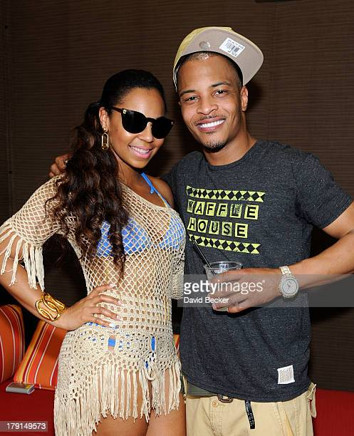 Singer/actress Ashanti and rapper TI appear at Ditch Saturdays at the Palms Pool Bungalows at The Palms Casino Resort on August 31 2013 in Las Vegas...