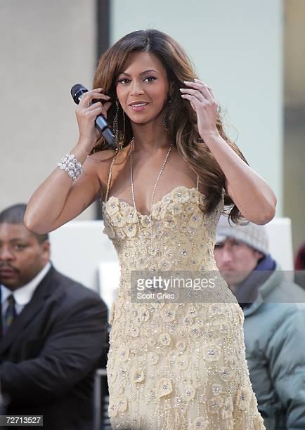Singer/actress Beyonce Knowles performs on NBC's Today Show in Rockefeller Center on December 4 2006 in New York City