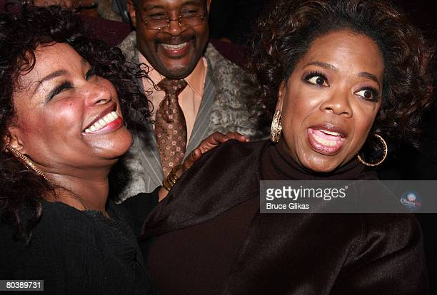 Singer/Actress Chaka Khan and Producer Oprah Winfrey pose at The Celebration for Chaka Khan BeBe Winans and Lakisha Jones joining The Color Purple on...