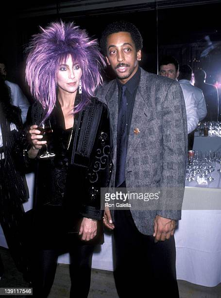 Singer/Actress Cher and actor Gregory Hines attend the White Nights Premiere Party on November 13 1985 at The Harkness House in New York City