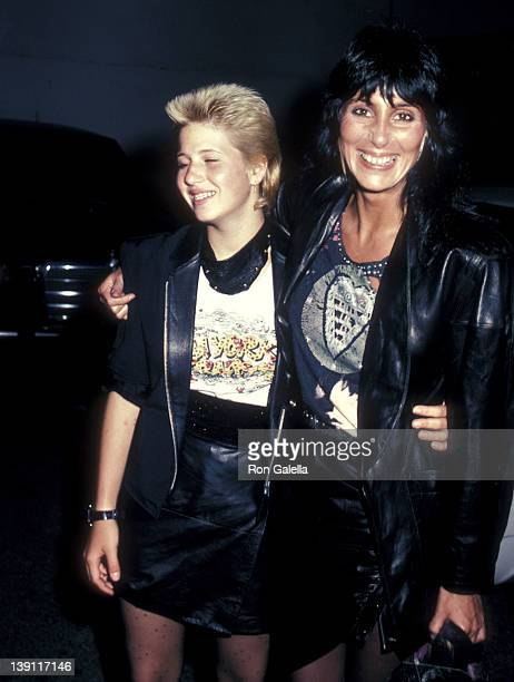 Singer/Actress Cher and daughter Chastity Bono on May 1 1983 dine in West Hollywood California