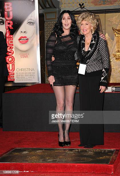 Singer/actress Cher and mom Georgia Holt pose as Cher is immortalized with hand and footprint ceremony at Grauman's Chinese Theatre on November 18...