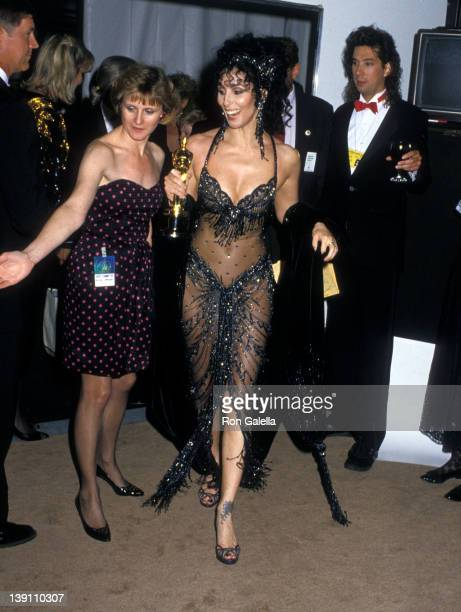 Singer/Actress Cher attends the 60th Annual Academy Awards on April 11 1988 at Shrine Auditorium in Los Angeles California