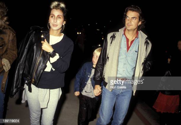 Singer/Actress Cher boyfriend Josh Donen and her son Elijah Blue Allman attend The Sure Thing Beverly Hills Premiere on February 9 1985 at Samuel...