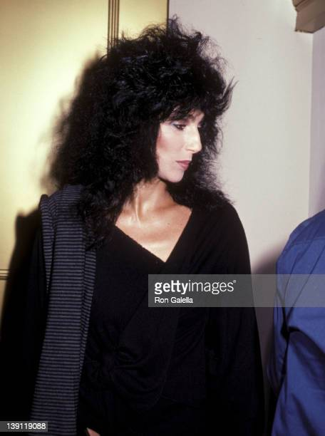 Singer/Actress Cher catches La Cage aux Folles Broadway Show on September 16 1983 at the Place Theatre in New York City