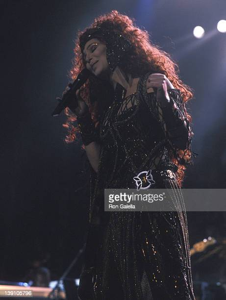 """Singer/Actress Cher performs at her """"Do You Believe?"""" Concert Tour on February 24, 2000 at Continental Airlines Arena in East Rutherford, New Jersey."""