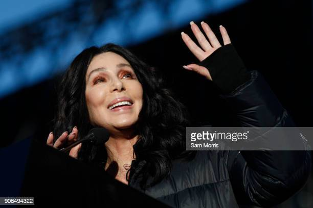 """Singer/actress Cher speaks during the Women's March """"Power to the Polls"""" voter registration tour launch at Sam Boyd Stadium on January 21 in Las..."""