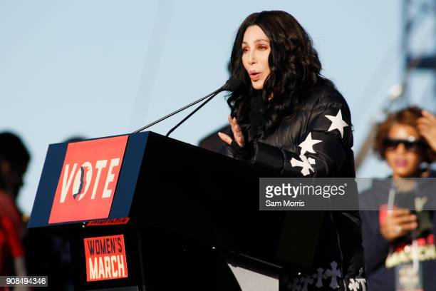 Singer/actress Cher speaks during the Women's March Power to the Polls voter registration tour launch at Sam Boyd Stadium on January 21 in Las Vegas...