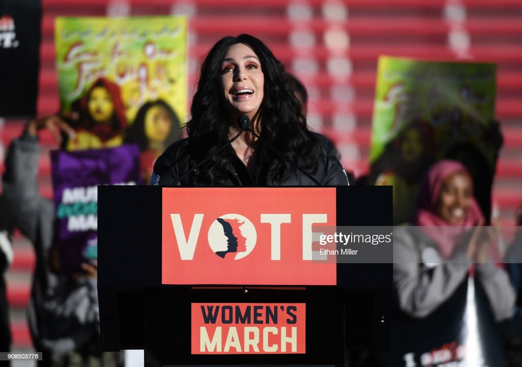 Singer/actress Cher speaks during the Women's March 'Power to the Polls' voter registration tour launch at Sam Boyd Stadium on January 21, 2018 in Las Vegas, Nevada. Demonstrators across the nation gathered over the weekend, one year after the historic Women's March on Washington, D.C., to protest President Donald Trump's administration and to raise awareness for women's issues.