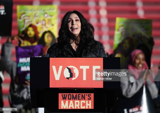 Singer/actress Cher speaks during the Women's March 'Power to the Polls' voter registration tour launch at Sam Boyd Stadium on January 21 2018 in Las...