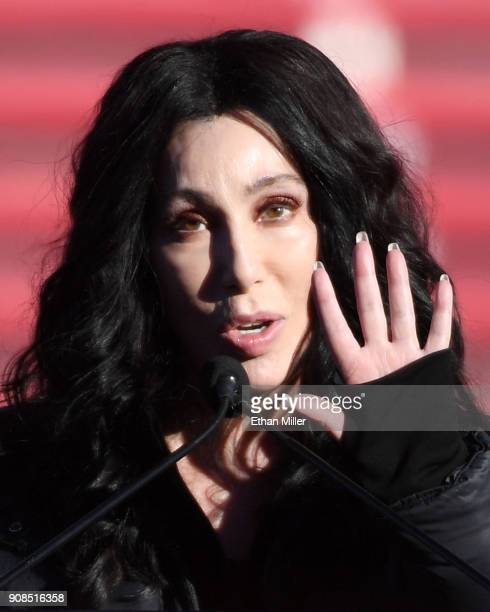 Singer/actress Cher speaks during the Women's March Power to the Polls voter registration tour launch at Sam Boyd Stadium on January 21 2018 in Las...