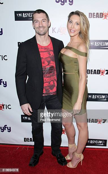 Singer/actress Chloe Lattanzi and her fiance James Driskill on the red carpet for the Premiere of Syfy's 'Dead 7' at Harmony Gold on April 1 2016 in...