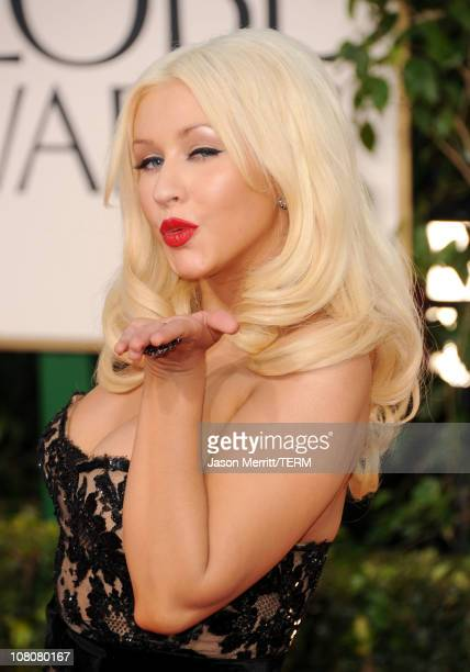 Singer/actress Christina Aguilera arrives at the 68th Annual Golden Globe Awards held at The Beverly Hilton hotel on January 16 2011 in Beverly Hills...