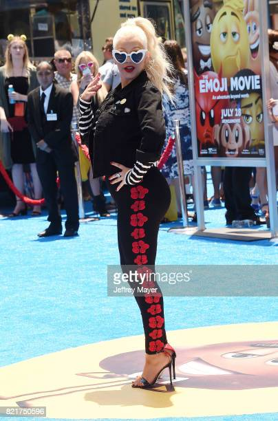 Singer/actress Christina Aguilera arrives at the Premiere Of Columbia Pictures And Sony Pictures Animation's 'The Emoji Movie' at Regency Village...