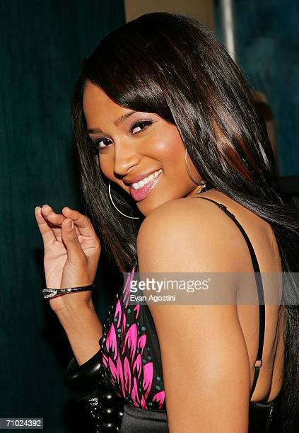 Singer/actress Ciara poses backstage after an appearance on MTV's Total Request Live at MTV Studios Times Square on May 23 2006 in New York City