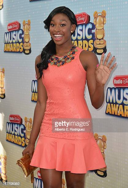 Singer/actress Coco Jones arrives to the 2013 Radio Disney Music Awards at Nokia Theatre LA Live on April 27 2013 in Los Angeles California