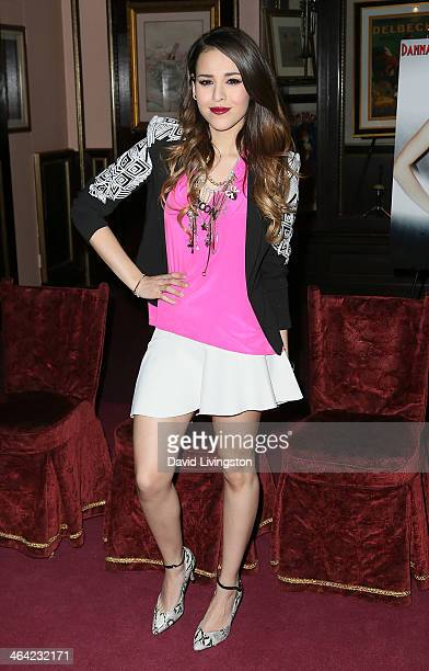 Singer/actress Danna Paola attends a news conference to announce her starring role in Saving Sara Cruz at SIR Los Angeles on January 21 2014 in Los...