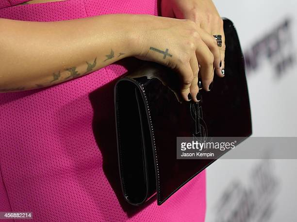 Singer/actress Demi Lovato attends the Vevo CERTIFIED SuperFanFest presented by Honda Stage at Barkar Hangar on October 8 2014 in Santa Monica...
