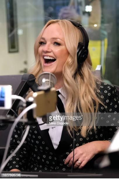 Singer/actress Emma Bunton speaks during her interview at SiriusXM Studios on December 04, 2018 in New York City.