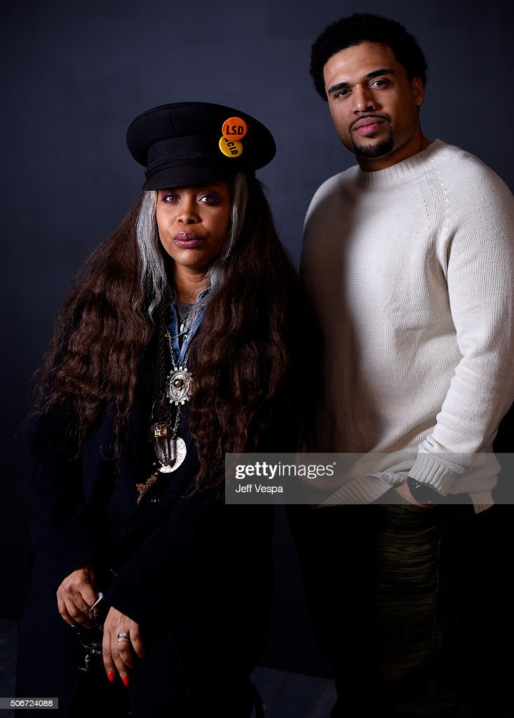 Singer/actress Erykah Badu (L) and writer/director Steven Caple Jr. from the film 'The Land' pose for a portrait during the WireImage Portrait Studio hosted by Eddie Bauer at Village at The Lift on January 25, 2016 in Park City, Utah.