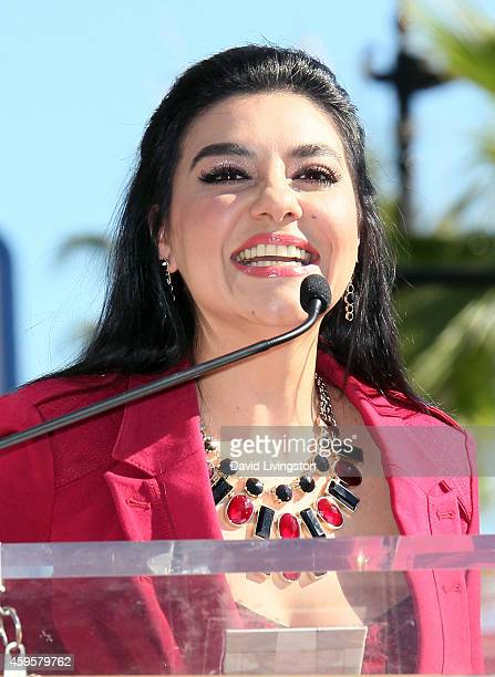 Singer/actress Graciela Beltran attends radio personality Renan Almendarez Coello aka El Cucuy de la Manana being honored with a Star on the...