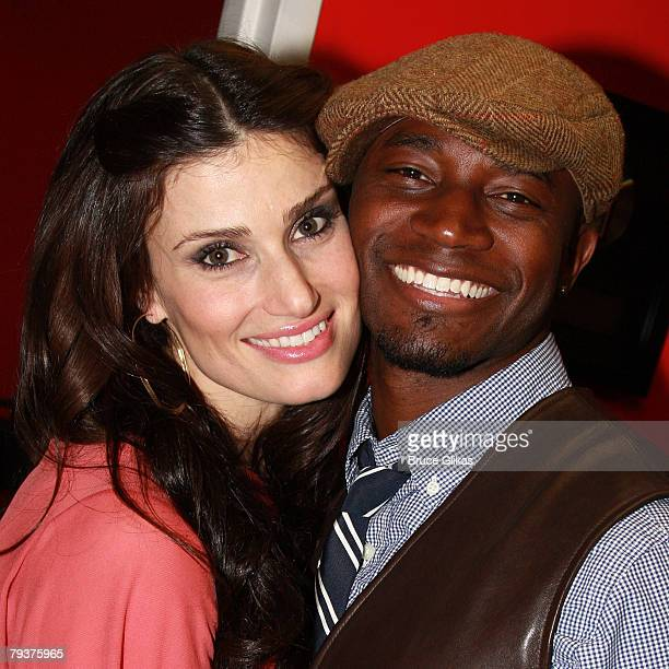 COVERAGE* Singer/Actress Idina Menzel poses with husband Actor Taye Diggs as she promotes and performs from her New Warner Brothers CD 'I Stand' at...