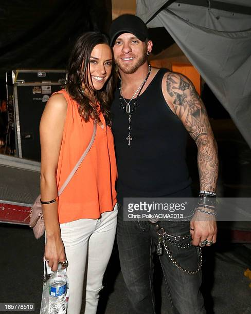 Singer/actress Jana Kramer and musician Brantley Gilbert backstage at the ACM Party For A Cause Festival during the 48th Annual Academy of Country...