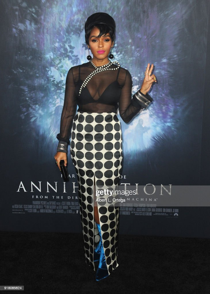 Singer/actress Janelle Monae arrives for the Premiere Of Paramount Pictures' 'Annihilation' held at Regency Village Theatre on February 13, 2018 in Westwood, California.