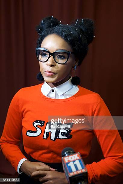 Singer/Actress Janelle Monáe attends the LA Promise Fund Screening Of Hidden Figures at USC Galen Center on January 10 2017 in Los Angeles California